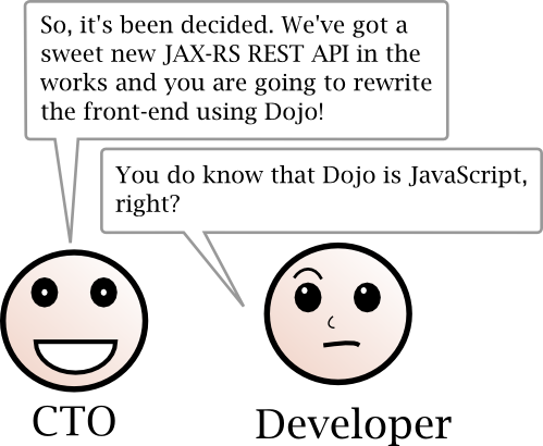 CTO: We've got a sweet new JX-RS REST API in the works and you are going to rewrite the front-end using Dojo! Developer: You do know that Dojo is JavaScript, right?